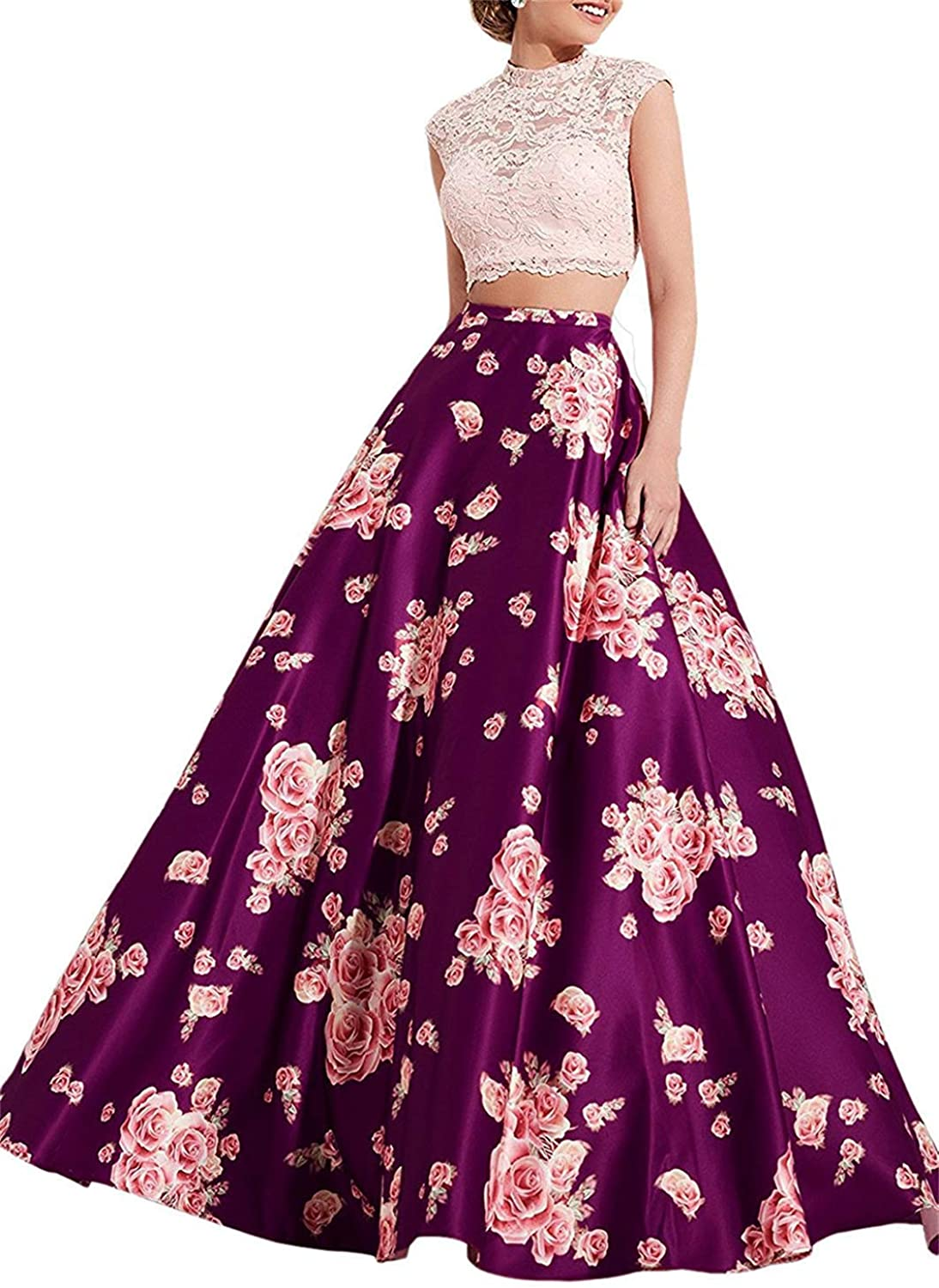 LL Bridal Women's 2 Piece Floral Prom Dresses Long Satin High Neckline Lace Evening Party Formal Ball Gowns M008