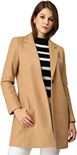 Allegra K Women's Classic Notched Lapel Long Sleeve Buttoned Long Coat