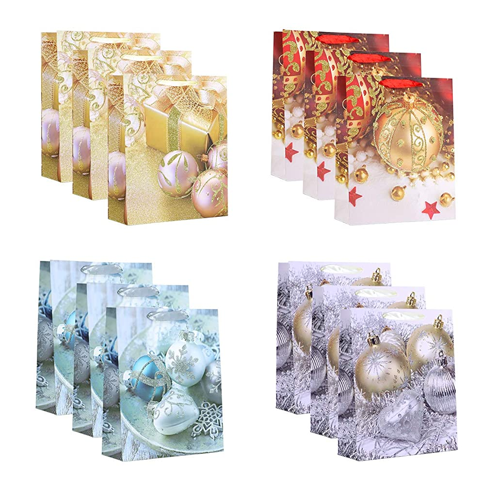 12Pcs Gift Bags-100% Recyclable White Paper Card Bags with Ribbon Handle,Paper Prints with Snowman for Goody Bags, Wedding, Birthday Party (Multi-Colored Xmas Ball, 10.12