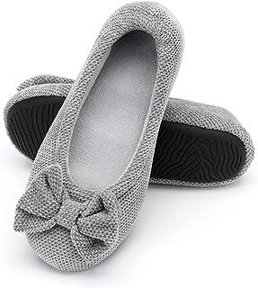 RockDove Women`s Chenille Fabric Ballerina Slipper with Rubber Sole