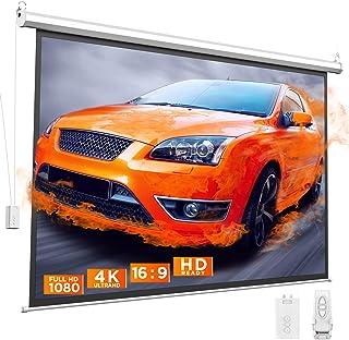 Bomaker 100 inch Motorized Projector Screen, Projection Screen 4K HD, Anti-Crease Portable Screen, 16:9, Wireless Remote, ...