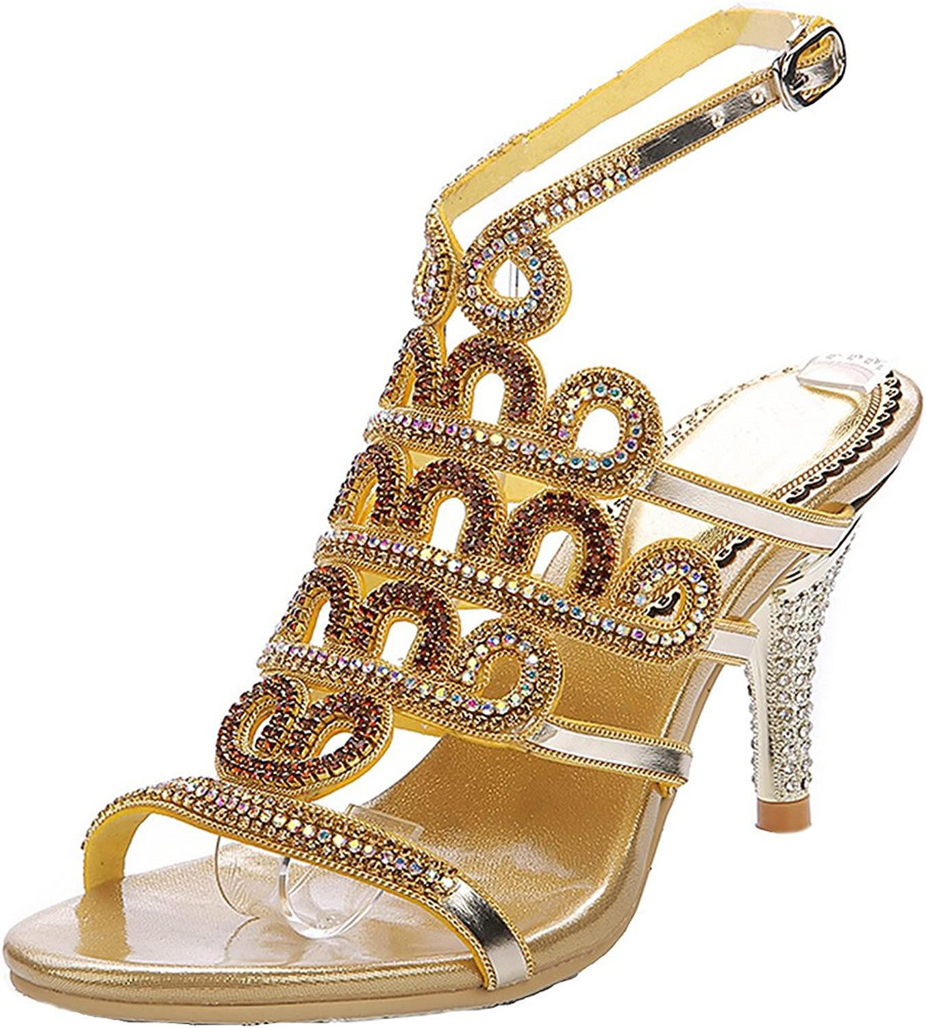 LizForm Open Toe Jewel Cutout Evening Sandals Strappy Rhinestones Wedding Pumps Heels