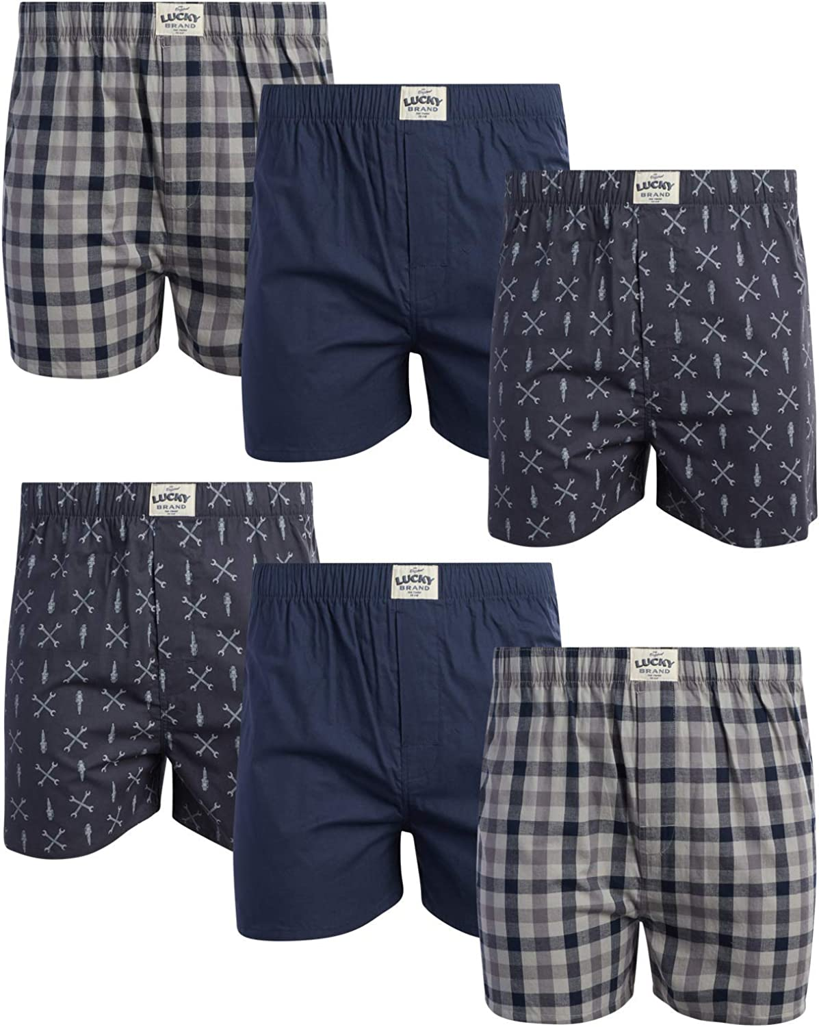 Lucky Brand Men?s Woven Cotton Boxer with Functional Fly (6 Pack), Size