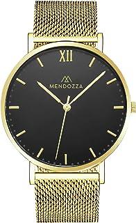 Mendozza Midnight Montre pour homme avec bracelet en maille Noir 40 mm
