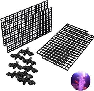 4 Pcs Aquarium Divider Tray Plastic Grid Aquarium Egg Crate Light Diffuser, Fish Tank Divider Filter Bottom Isolation with 8 Pcs Sucker Clip(Black)
