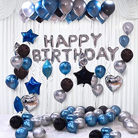 Party Propz Happy Birthday Balloons Decoration Kit 31 Pcs Set for Husband Boys Kids Balloons Decorations Items Combo with Helium Letters Foil Balloon Banner, Latex Metallic Balloons