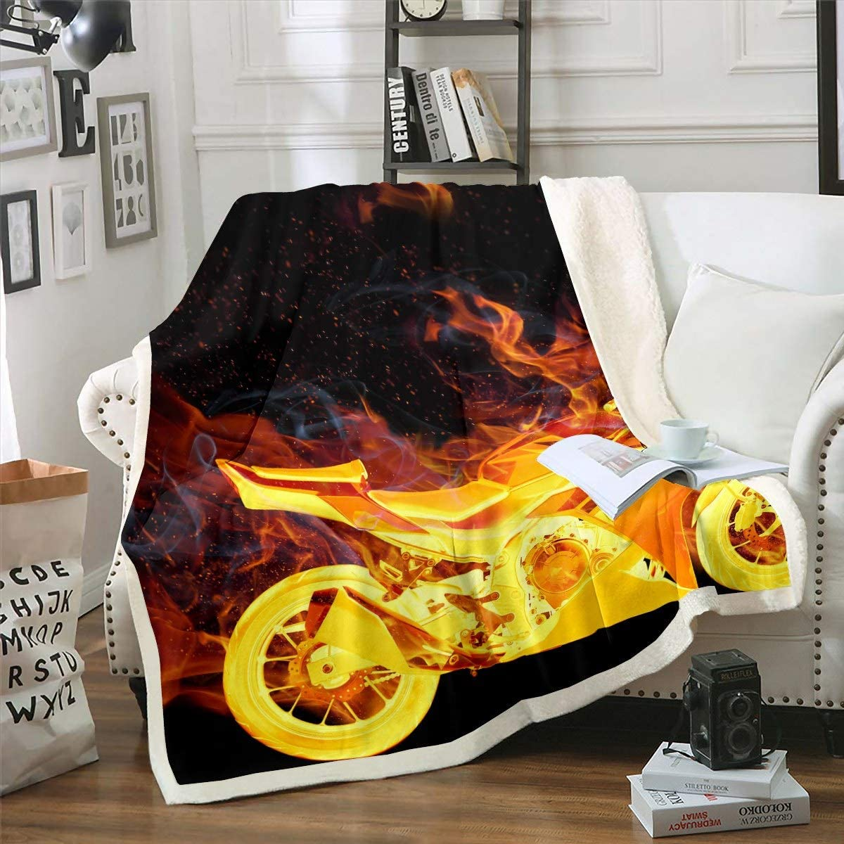 Feelyou Flame Motorcycle Sherpa Blanket Extr Kids Popularity Teens Boys for shipfree