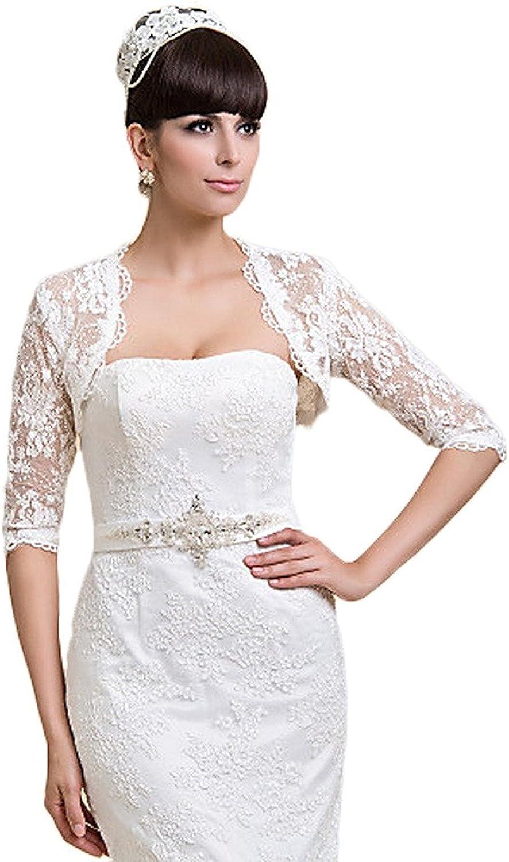 EllieHouse Women's Lace Short Sleeve Bolero Jacket Wedding Bridal Wraps WJ36