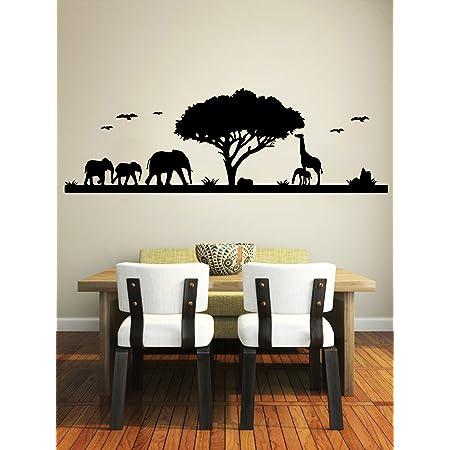 African Safari Themed Wall Sticker Jungle Animal Tree Mural Home Room Decor NE8