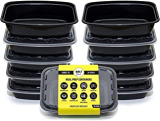 Bolt Goods JUMBO XL Plastic Meal Prep Containers (10 Pack 38 Ounce) Durable Food Storage Bento Box Lunch Bowl Leak Proof Airtight Lids Portion Control 21 Day Fix BPA Free USA Made Reusable Washable