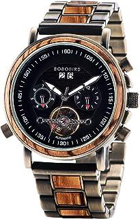 BOBO BIRD Mens Mechanical Watch Multi Automatic/Hand Winding Stainless Steel Wristwatch with Ebony Luminous Hands Stylish ...