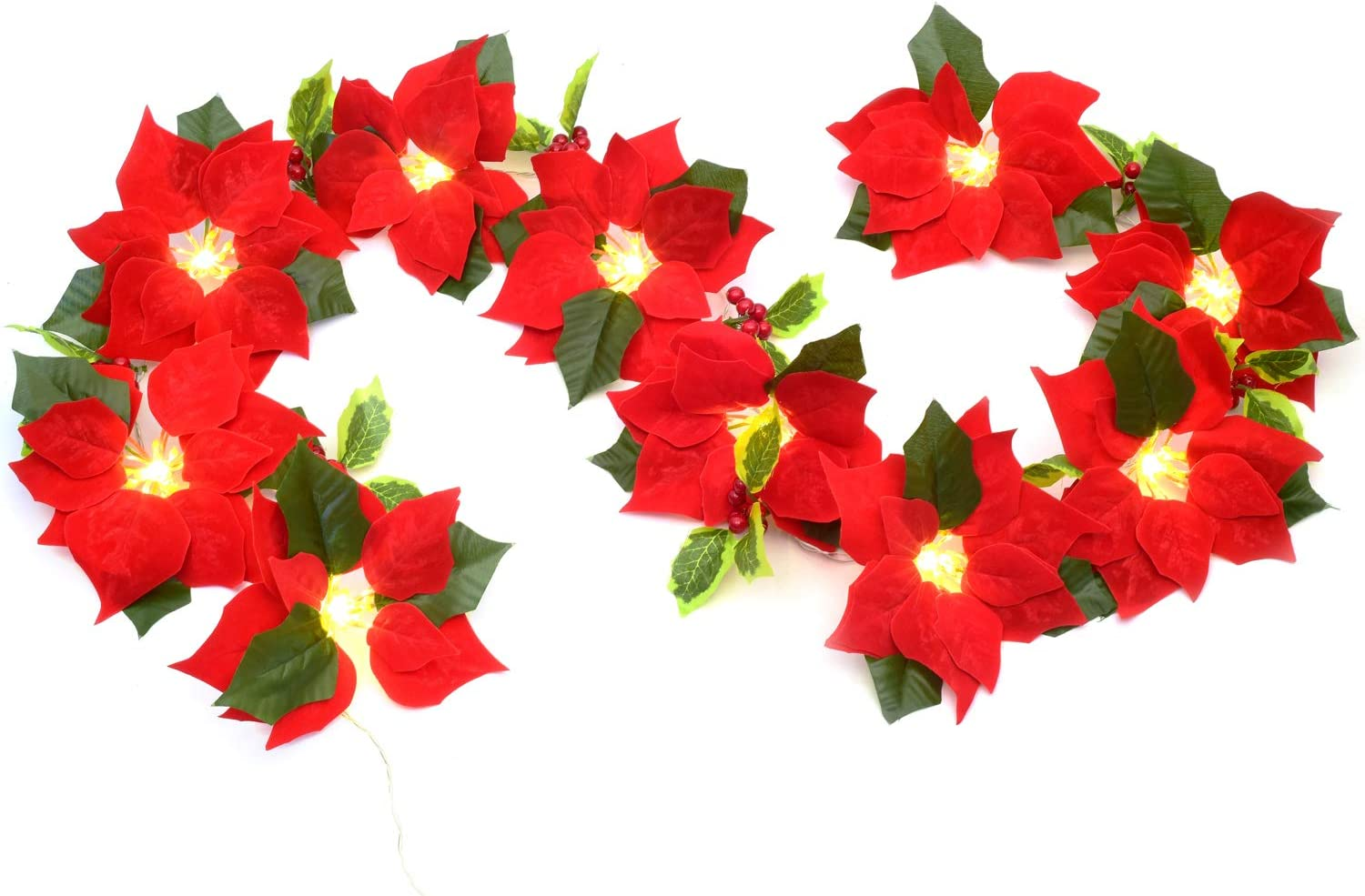 Woooow 6 Feet Christmas Garland Poinsettia Garland with Red Berr