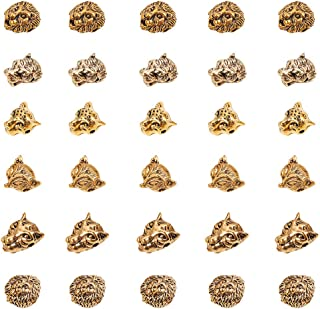 PH PandaHall 30 PCS 6 Styles Antique Gold Alloy Leopard Tiger Lion Fox Head Beads Connector Charm Beads for Bracelet Necklace Earrings Jewelry Making Crafts