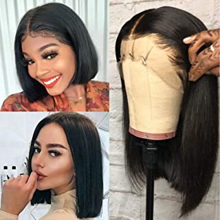 Gluseless 13X4 Short Bob Lace front Wigs Human Hair Straight Natural Hairline Brazilian Remy Hair Wigs Pre Plucked with Baby Hair for Black Women Bleached Knots 14 Inch