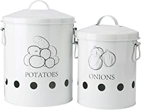 G.a HOMEFAVOR Set of 2 Antique Cream Vintage Potato Onion Kitchen Storage Canisters Jars Pots Containers 2 Pack Set, Potatoe, Onion Bin Caddy, With Aerating Tin Storage Holes & Metal Lid
