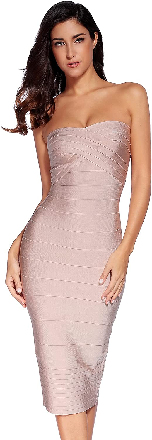 meilun Women's Knee Length Strapless Bandage Bodycon Party Dress