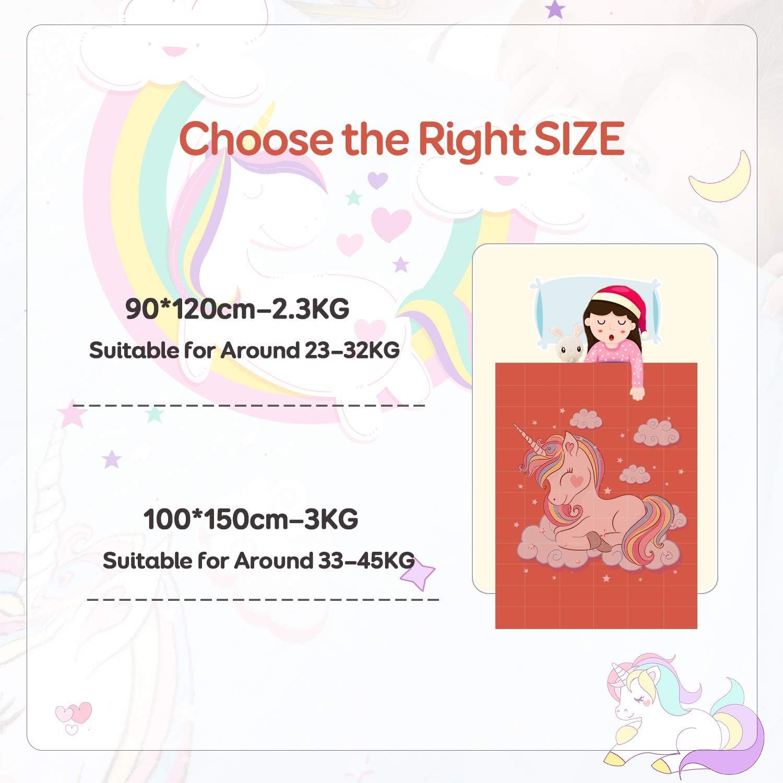Couverture Licorne pour Enfants avec 2 Options de Couleur id/éale pour Calmer et Dormir 100 x 150 cm Rose Anjee Kids Fleece Weighted Blanket 3KG Couverture Lourde Ultra-Douce et Confortable