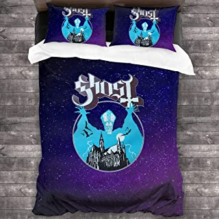 Ghost Opus Eponymous Microfiber Comforter Set 86x70 in, Unique 3 Piece Bedding Sets with 2 Pillowcase