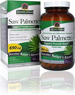Nature's Answer Saw Palmetto Prostate Supplement Extract Vegetarian Capsules, 120-Count | Prostate Support | Natural Urina...