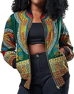 Kulywon Women African Print Long Sleeve Dashiki Short Jacket