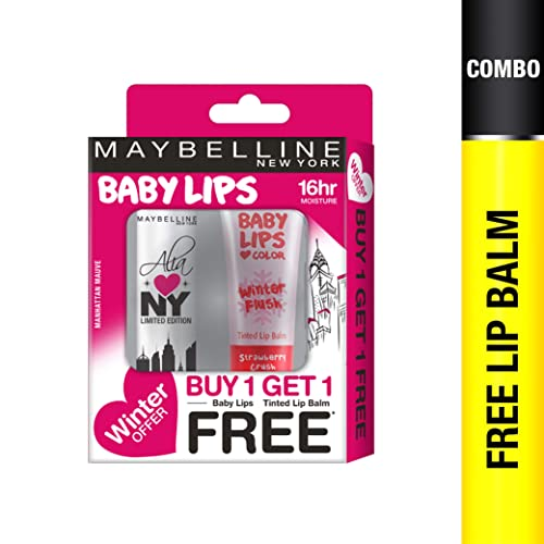Maybelline New York Winter Promo, Manhattan Mauve, 4g with Free Strawberry Crush, 9ml