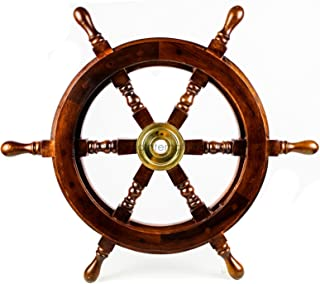 Nagina International Premium Nautical Handcrafted Wooden Ship Wheel   Pirate's Wall Home Decor & Gifts (24 Inches, Dark Rosewood)
