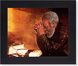 African American Black Daily Bread Man Praying Grace Religious Wall Picture Framed Art Print