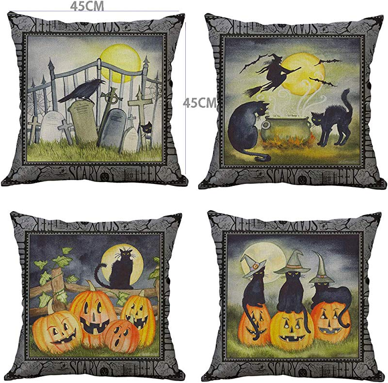 Onegirl Throw Pillow Covers Set Of 4Pcs Halloween Pumpkin Decorative Couch Pillow Cases Linen Pillow Square Cushion Cover For Sofa Couch Bed And Car B 45x45cm