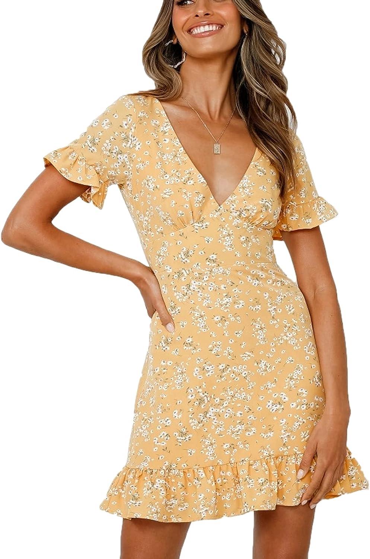 LanreyTaley Women Summer V-Neck Printed Dress Strap Mini Dress Slim Dress