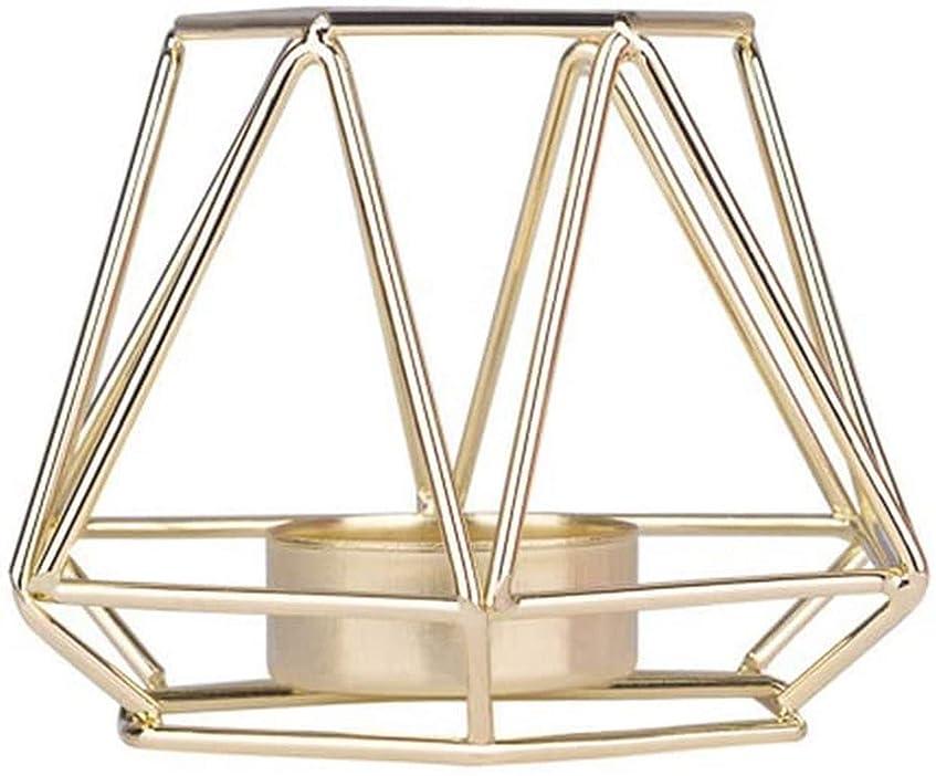 自伝男性分岐する家の装飾、北欧スタイルの鉄線幾何学的なキャンドルホルダー金属の燭台ブラケットの装飾-ゴールデンS