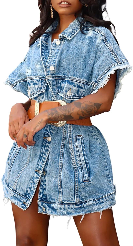 Women's Ripped Denim Vest Oversize Sleeveless Button Jacket