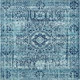 Unique Loom Tradition Collection Classic Southwestern Turquoise Square Rug (8' 4 x 8' 4)