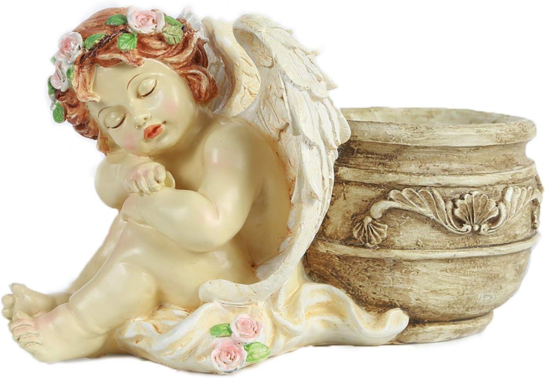 UAMSTYLE Angel Planter Statue Lovely Baby Garden Outdoor Angel Flowerpot Succulent Plants.Resin Sleeping Angel Pot Garden Decor.Cute Angel Pray Good Luck and Health,Take Off Mask Kiss
