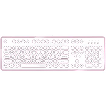 Amazon Com Azio Mk Retro 07 Usb Vintage Inspired Mechanical Keyboard Blue Switch White And Rose Gold Edition Computers Accessories