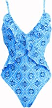 Dinglong Womens One Piece Beachwear,Monokini Swimwear Bikini Beach Bathing Suit Padded Flowers Printed Hawaii Eye-catching (L, Blue)