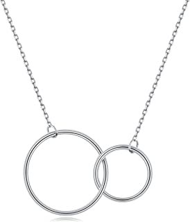 EVERU White Gold Plated Sterling Silver Interlocking Double Circle Pendant Necklace Infinity