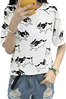 [アズルテ] 半袖 犬柄 Tシャツ レディースファッション ブルドッグ 柄 プリント M~XXL 大きいサイズ おもしろ tシャツ