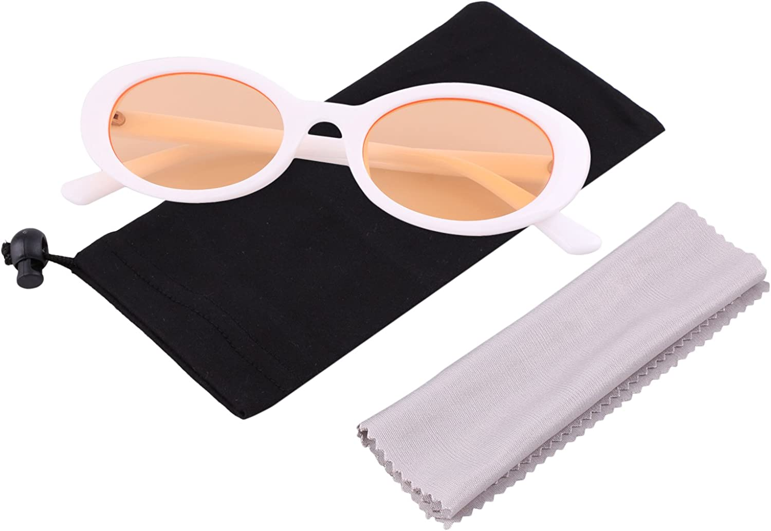 Bold Retro Thick Frame Clout Goggles Oval Mod Lens Candy Eye Sunglass by MAFAGE (White&orange)