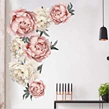 Prabahdak Peony Flowers Wall Sticker Waterproof PVC Peony Rose Flowers Wall Decals Removable Floral Wall Decor Sticker for...