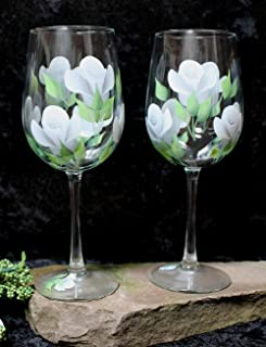 Hand Painted Wine Glasses - Silver Gray and White Roses (Set of 2)