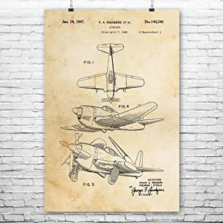 WW2 Fighter Airplane Poster Print, WW2 Fighter Plane, Dogfighter, Air Force Gift, Airplane Blueprint, Engineer Vintage Paper (16