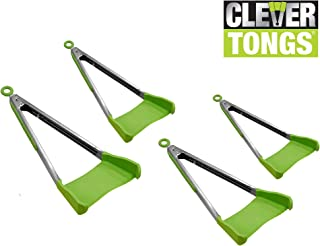 Clever Tongs 2 In 1 Kitchen Spatula & Tongs Non-Stick, Heat Resistant, Stainless Steel Frame, Silicone & Dishwasher Safe, As Seen on TV, 4 Pack (Includes 2 Large & 2 Small)