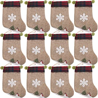 PartyBus 8 Inch Mini Christmas Stockings 12 Pack, Small Rustic Burlap Plaid Green Ears Xmas Tree Decorations, Gift Card Holders Cash Bags Holiday Treats for Family Coworkers Neighbors Kids Dogs Cats
