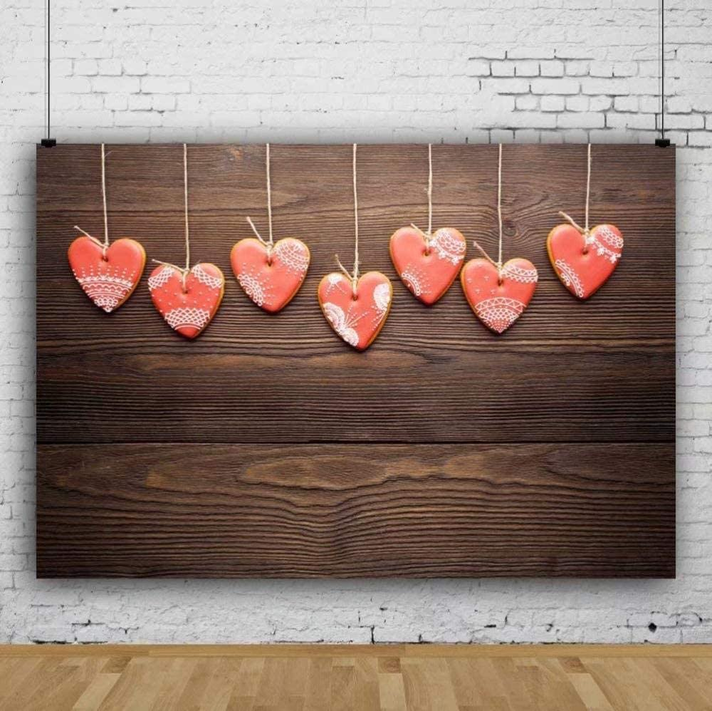 Zhy Polyester Fabric Happy Valentine s Day Backdrop 7x5ft Saint Valentine s Day Photos Background Love Photos Wooden Wall Decor Valentine s Photobooth Studio Props