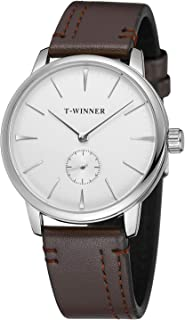Forsining Men's Mechanical Hand-Wind Analog Sport Style Wristwatch with Leather Strap