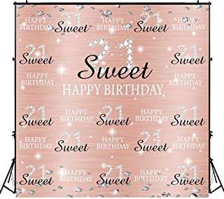 Funnytree 6x6ft Rose Gold Pink Sweet 21st Birthday Party Backdrop Princess Girl Step and Repeat Diamonds Glitter Shiny Photography Background Twenty one Years Old Age Decoration Banner Photo Booth