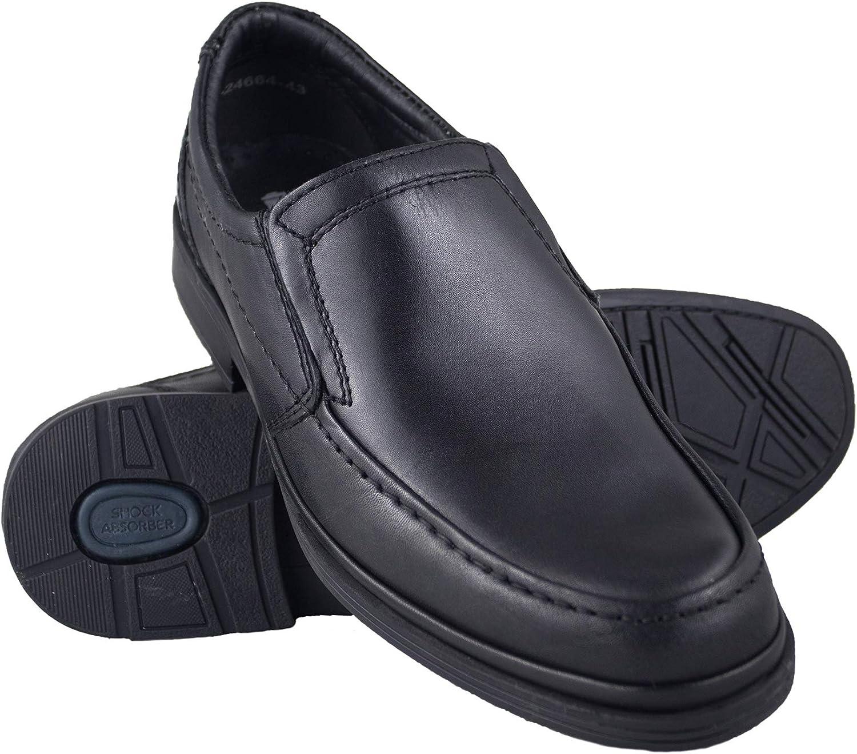 Zerimar Men's Leather shoes Casual Men's shoes Men's shoes to Wear Elegant Footwear color Black Size 6.5 UK - 40 EU