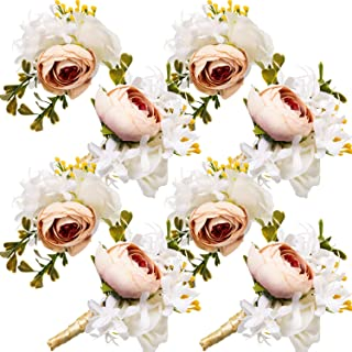 Maitys Wrist Corsage and Boutonniere Set Buttonholes for Women and Men Corsage Wristband Roses Wedding Accessories for Groom Groomsman Brides Prom (8, White, Champagne)