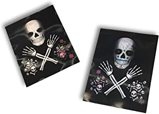 Midwood Brands, LLC Day of The Dead Lenticular Poster 18in x 12in Plastic Decoration - Photo Changes (Sugar Skull Crossbones)