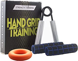 Phinus Grip Strength Trainer, Hand Grip Strength Trainer with Soft Protective Cover Great for Men/Women,Athletes, Teenagers & Hand Rehabilitation Exercising,Silver Stainless Steel